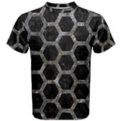 Hexagon2 Black Marble & Gray Stone Men s Cotton Tee