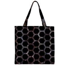 Hexagon2 Black Marble & Gray Stone Zipper Grocery Tote Bag