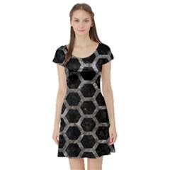 Hexagon2 Black Marble & Gray Stone Short Sleeve Skater Dress