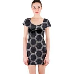 Hexagon2 Black Marble & Gray Stone Short Sleeve Bodycon Dress