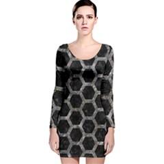 Hexagon2 Black Marble & Gray Stone Long Sleeve Velvet Bodycon Dress