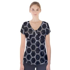 Hexagon2 Black Marble & Gray Stone Short Sleeve Front Detail Top