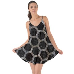 Hexagon2 Black Marble & Gray Stone Love The Sun Cover Up