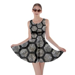 Hexagon2 Black Marble & Gray Stone (r) Skater Dress