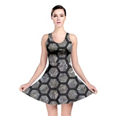 Hexagon2 Black Marble & Gray Stone (r) Reversible Skater Dress