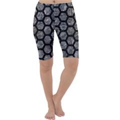 Hexagon2 Black Marble & Gray Stone (r) Cropped Leggings