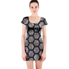 Hexagon2 Black Marble & Gray Stone (r) Short Sleeve Bodycon Dress