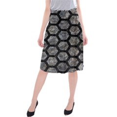 Hexagon2 Black Marble & Gray Stone (r) Midi Beach Skirt