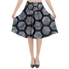 Hexagon2 Black Marble & Gray Stone (r) Flared Midi Skirt
