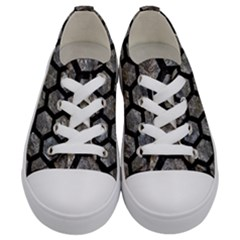 Hexagon2 Black Marble & Gray Stone (r) Kids  Low Top Canvas Sneakers