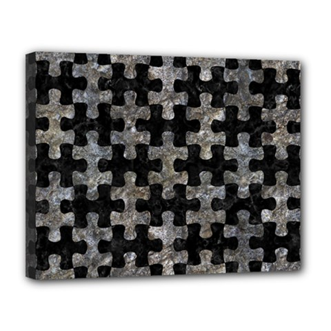 Puzzle1 Black Marble & Gray Stone Canvas 14  X 11