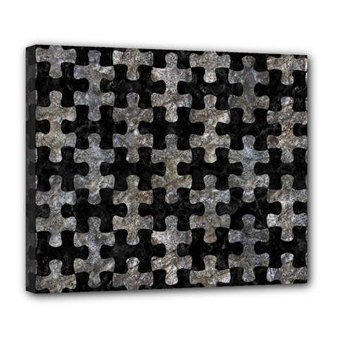 Puzzle1 Black Marble & Gray Stone Deluxe Canvas 24  X 20