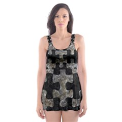 Puzzle1 Black Marble & Gray Stone Skater Dress Swimsuit