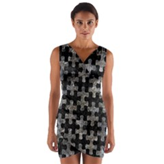 Puzzle1 Black Marble & Gray Stone Wrap Front Bodycon Dress