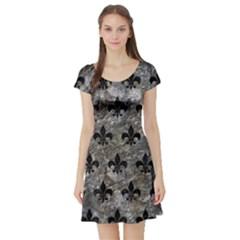 Royal1 Black Marble & Gray Stone Short Sleeve Skater Dress