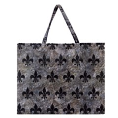 Royal1 Black Marble & Gray Stone Zipper Large Tote Bag