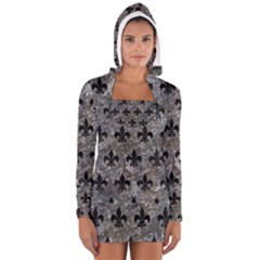 Royal1 Black Marble & Gray Stone Long Sleeve Hooded T Shirt