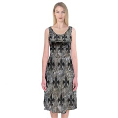 Royal1 Black Marble & Gray Stone Midi Sleeveless Dress