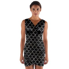 Scales1 Black Marble & Gray Stone Wrap Front Bodycon Dress