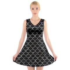 Scales1 Black Marble & Gray Stone V Neck Sleeveless Skater Dress
