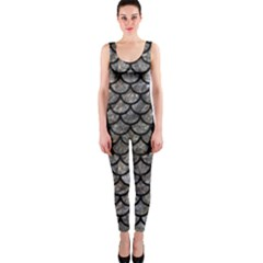 Scales1 Black Marble & Gray Stone (r) Onepiece Catsuit