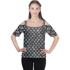 Scales1 Black Marble & Gray Stone (r) Cutout Shoulder Tee