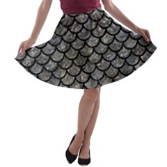 Scales1 Black Marble & Gray Stone (r) A Line Skater Skirt