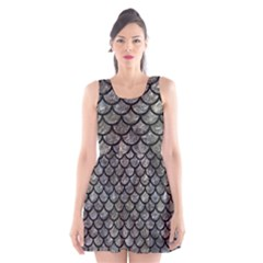 Scales1 Black Marble & Gray Stone (r) Scoop Neck Skater Dress