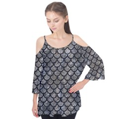 Scales1 Black Marble & Gray Stone (r) Flutter Tees