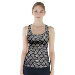 Scales1 Black Marble & Gray Stone (r) Racer Back Sports Top
