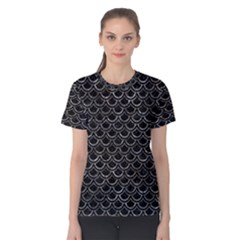 Scales2 Black Marble & Gray Stone Women s Cotton Tee