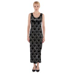 Scales2 Black Marble & Gray Stone Fitted Maxi Dress
