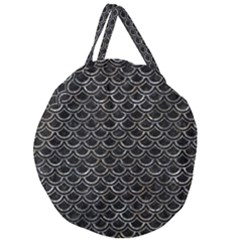 Scales2 Black Marble & Gray Stone Giant Round Zipper Tote