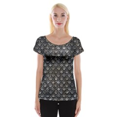 Scales2 Black Marble & Gray Stone (r) Cap Sleeve Tops