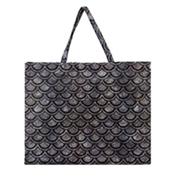 Scales2 Black Marble & Gray Stone (r) Zipper Large Tote Bag