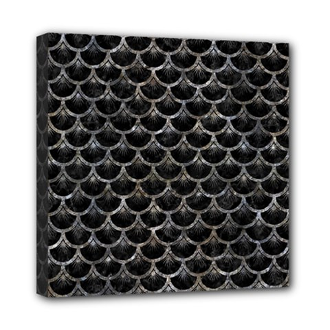 Scales3 Black Marble & Gray Stone Mini Canvas 8  X 8