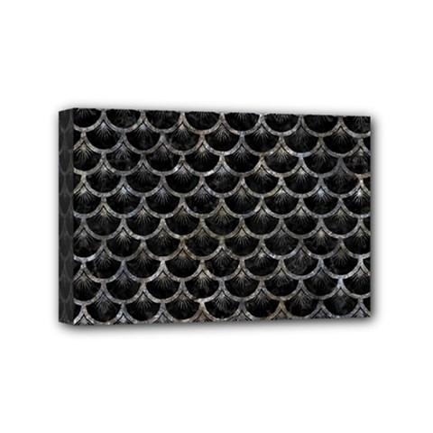 Scales3 Black Marble & Gray Stone Mini Canvas 6  X 4