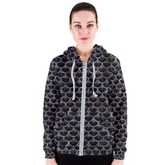 Scales3 Black Marble & Gray Stone Women s Zipper Hoodie