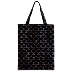 Scales3 Black Marble & Gray Stone Zipper Classic Tote Bag