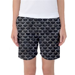 Scales3 Black Marble & Gray Stone Women s Basketball Shorts