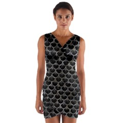 Scales3 Black Marble & Gray Stone Wrap Front Bodycon Dress