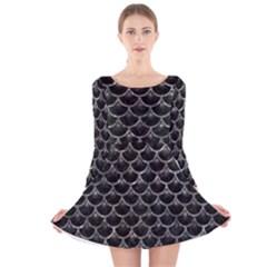 Scales3 Black Marble & Gray Stone Long Sleeve Velvet Skater Dress