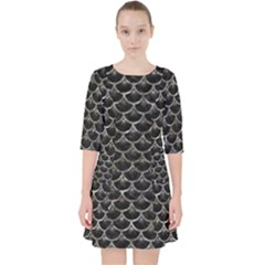 Scales3 Black Marble & Gray Stone Pocket Dress