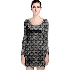 Scales3 Black Marble & Gray Stone (r) Long Sleeve Bodycon Dress