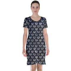 Scales3 Black Marble & Gray Stone (r) Short Sleeve Nightdress