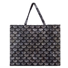 Scales3 Black Marble & Gray Stone (r) Zipper Large Tote Bag