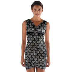 Scales3 Black Marble & Gray Stone (r) Wrap Front Bodycon Dress