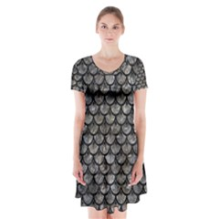 Scales3 Black Marble & Gray Stone (r) Short Sleeve V Neck Flare Dress