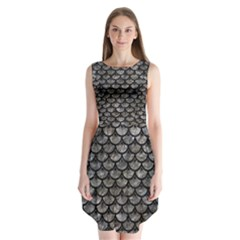 Scales3 Black Marble & Gray Stone (r) Sleeveless Chiffon Dress