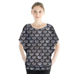 Scales3 Black Marble & Gray Stone (r) Blouse